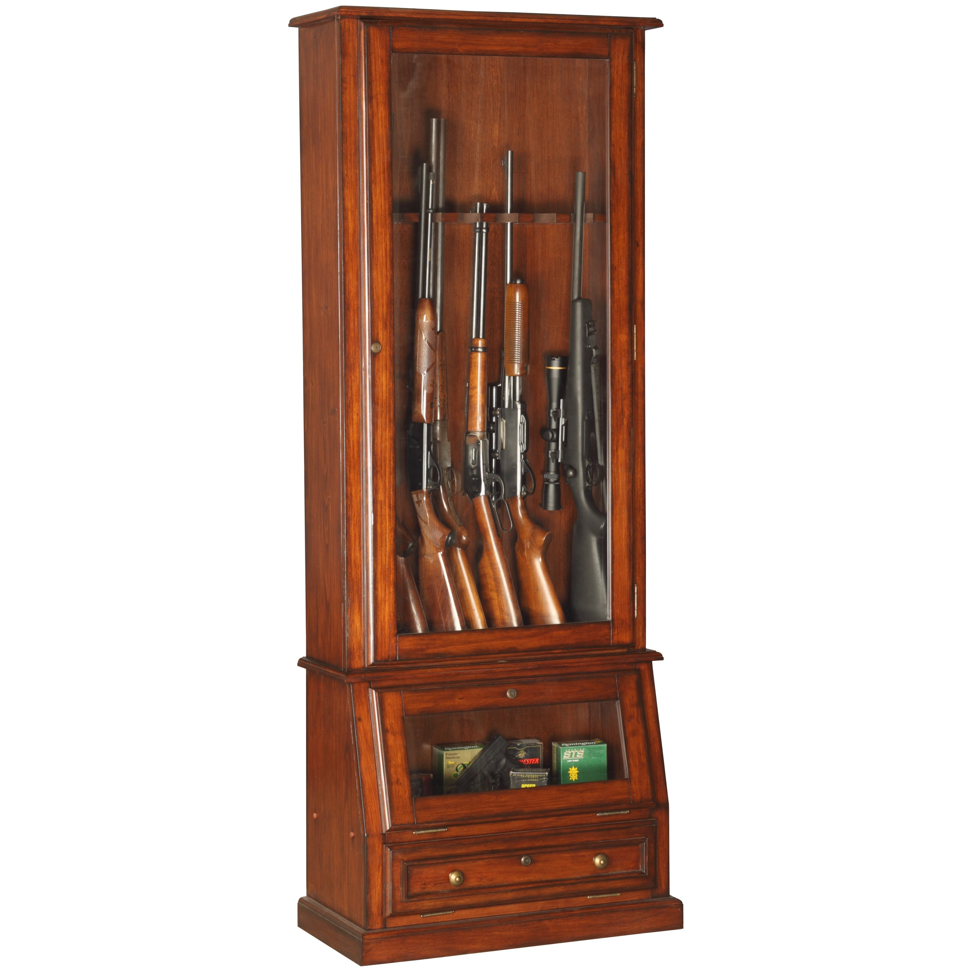 American Furniture Classics 898 Wood 12-Gun Cabinet with Slanted Base