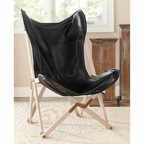 Safavieh Stuart Birchwood Bicast Leather Upholstery Side Chair, Black