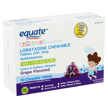 Equate Children's Grape Flavored Loratadine Chewable Tablets, 5 mg, Ages 2 Years and Older, 30
