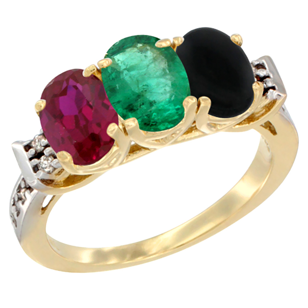 10K Yellow Gold Enhanced Ruby, Natural Emerald & Black Onyx Ring 3-Stone Oval 7x5 mm Diamond Accent, sizes 5 10 by WorldJewels