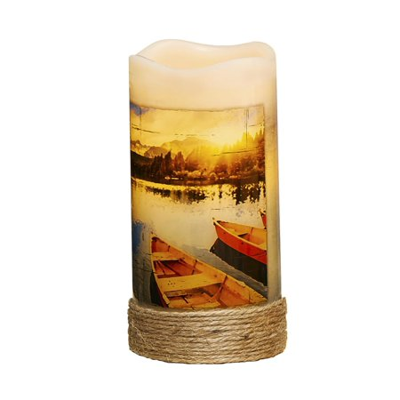 Pack of 4 Nautical Canoe LED Lighted Wax Flameless Pillar Candles with Timer 6