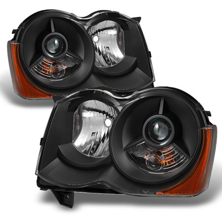 Fit Black 2008 2009 2010 Jeep Grand Cherokee Halogen Projector Headlights L+R