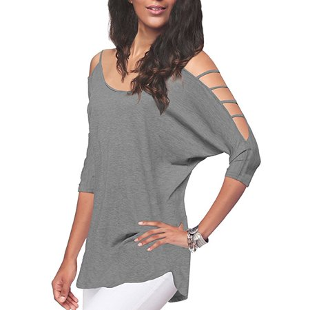 3b64b1c0b83c Freshlook - Women's Casual Loose Hollowed Out Shoulder Three Quarter Sleeve  Shirts - Walmart.com