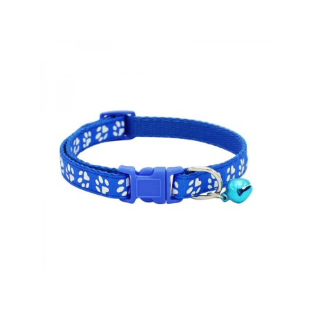 Lavaport Dog Cat Puppy Pet Collars With Bells Adjustable Pawprints Collar