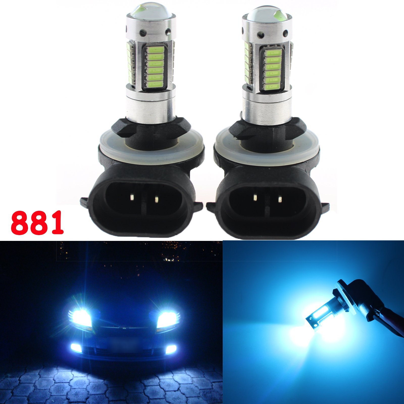 Xotic Tech 2 Pieces Bright White 881 862 886 10000K 30-SMD LED Bulbs for DRL Fog Driving Lights