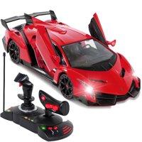 Best Choice Products 1/14 Scale Remote Control Car Lamborghini Veneno Toy w/ Gravity Sensor, Engine Sounds, Lights - Red