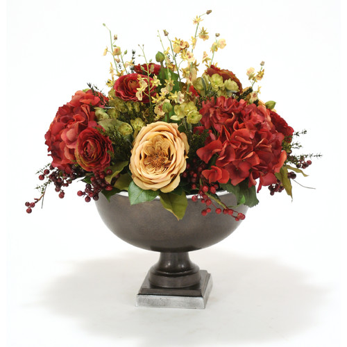 Distinctive Designs Fall Toned Hydrangea and Rose Mix in Hampton Urn