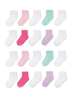 Wonder Nation Baby Toddler Girls Socks, 20-Pack Folded Cuff