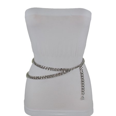 New Silver Women Belt Thick Metal Chunky Chain Link Side Wave Detail (Amber Chunky Belt)