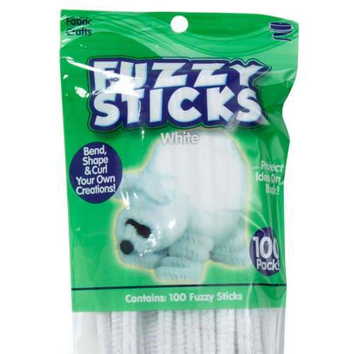 Kids Craft 100pk Fuzzy Sticks, White