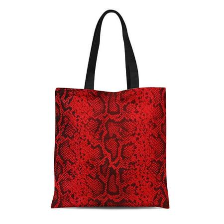 ASHLEIGH Canvas Tote Bag Snake Exotic Snakeskin Ruby Red Skin Cobra Rattlesnake Python Reusable Handbag Shoulder Grocery Shopping Bags (Ruby Python)