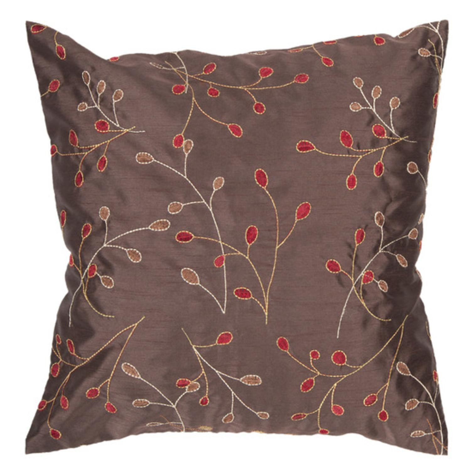 """18"""" Venetian Red and Chocolate Shiny Leaf Decorative Throw Pillow"""