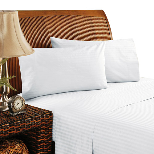400-Thread Count 100% Cotton Dobby Stripe Sheet Set with 2 Bonus Pillow Cases