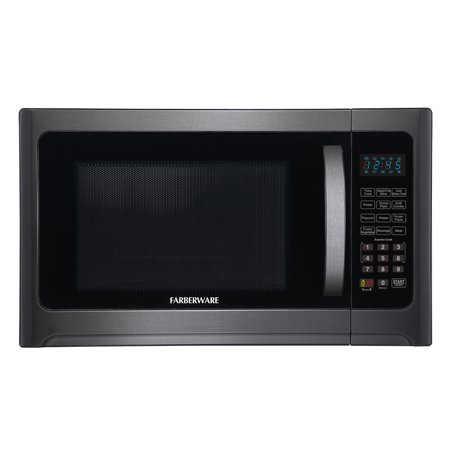 Farberware Black FMO12AHTBSG 1.2 Cu. Ft 1100-Watt Microwave Oven with Grill, Black Stainless