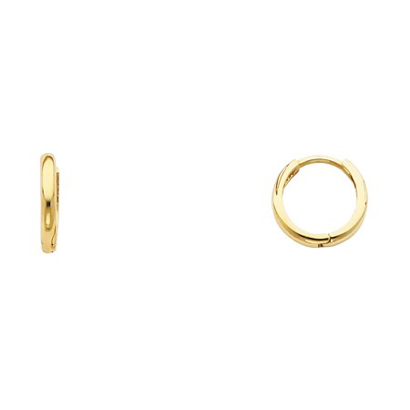 Small Huggie Hoop Earring Solid 14k Yellow Gold Round Plain Design Polished Finish Tiny 10 x 2 mm 14kt Solid Yellow Gold Earring