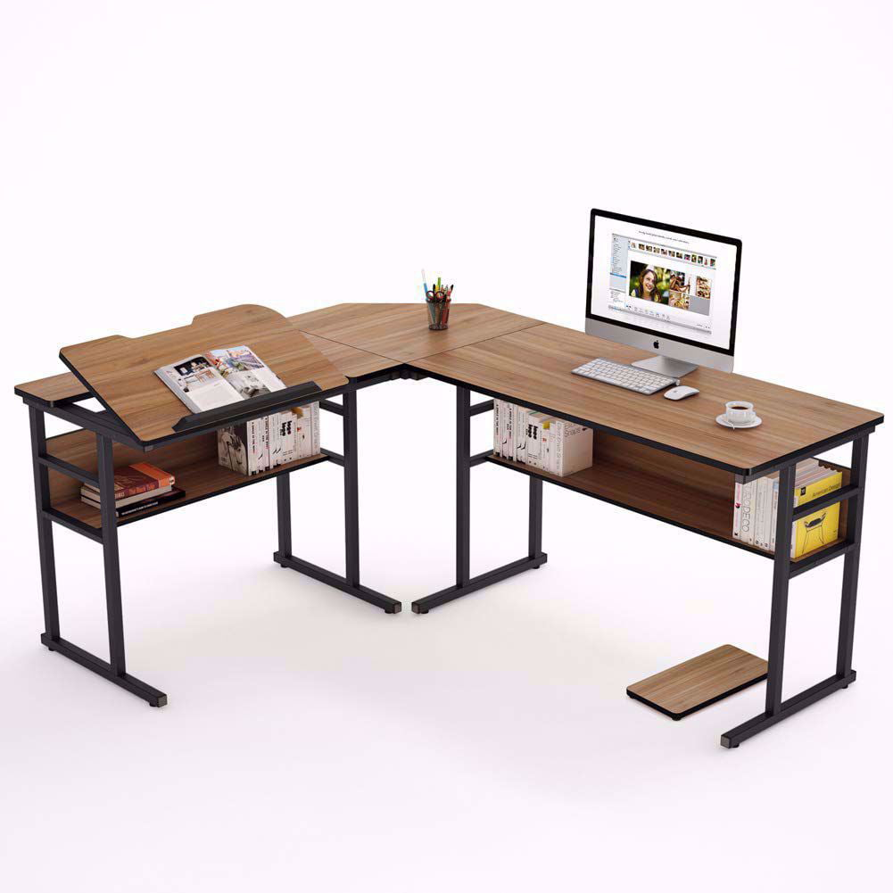 Tribesigns Modern L Shaped Desk With Bookshelf 67 Inch