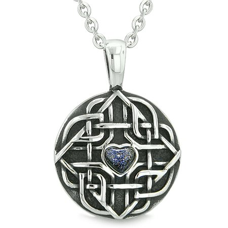 Goldstone Pendant Necklace - Amulet Celtic Shield Knot Magic Heart and Protection Powers Blue Goldstone Pendant 18 Inch Necklace