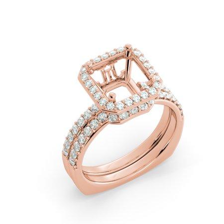(Bridal Set Semi Mount Matching Engagement Solitaire Band Diamond 14k Rose Gold)