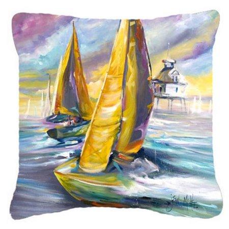 Carolines Treasures JMK1234PW1414 Middle Bay Lighthouse Sailboats Canvas Fabric Decorative Pillow - image 1 of 1