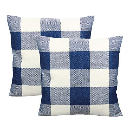 Vakado Navy Blue And White Buffalo Plaids Throw Pillow Covers Outdoor Decorative Farmhouse Retro Dark Blue Check Cushion Cases Home Decor For Patio Couch Sofa 18x18 Set Of 2 Walmart Com