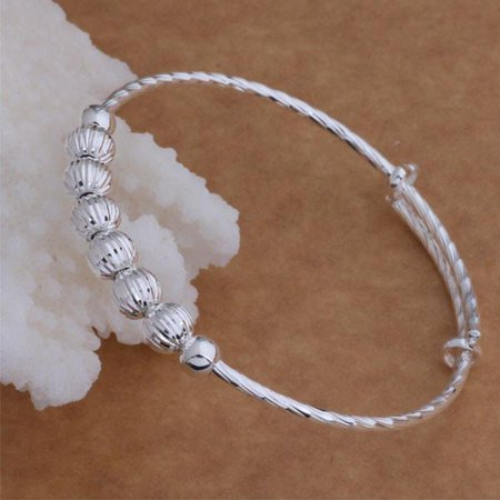 Diamond Cut Beaded Adjustable Sterling Silver Bangle Bracelet