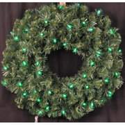 Christmas at Winterland WL-GWSQ-02-LGR 2 Foot Pre-Lit Green LED Sequoia Wreath I