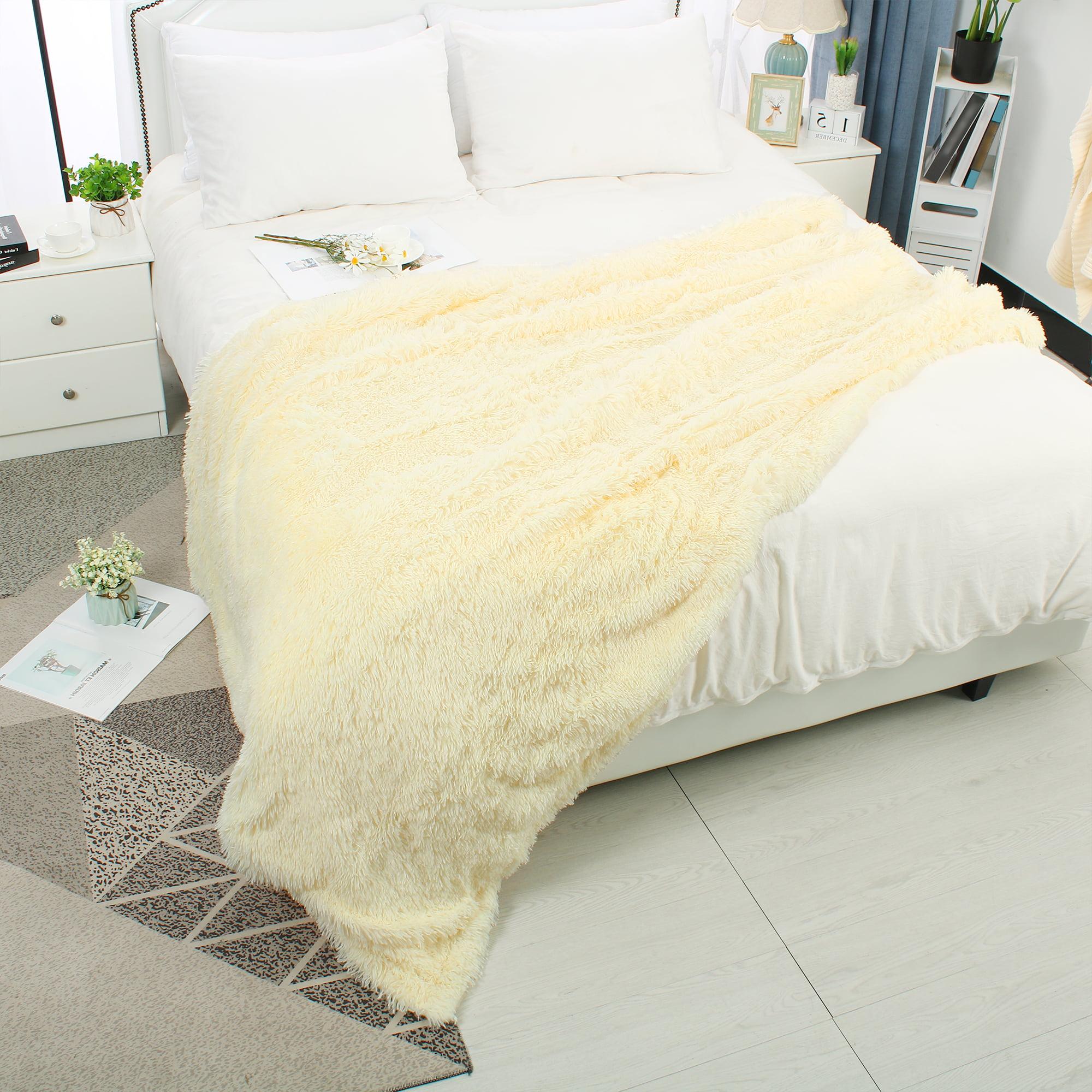 "Soft Decorative Long Shaggy Faux Fur Plush Twin Size Blanket,59"" x78"",Khaki"