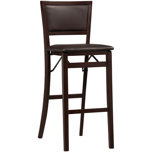 Linon Keira Folding Bar Stool, Espresso, 30 inch Seat Height, Assembled