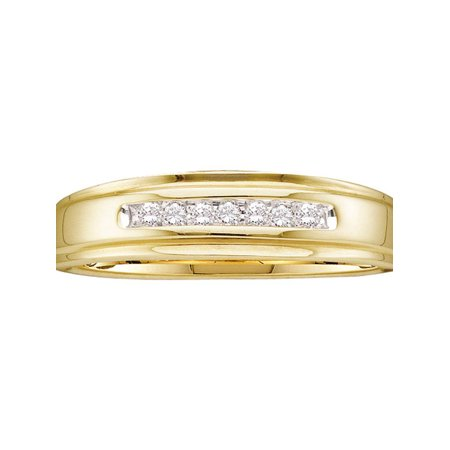 14kt Yellow Gold Mens Round Diamond Channel-set Wedding Anniversary Band Ring 1/12 Cttw Diamond Fine Jewelry Ideal Gifts For Mens Gift Set From Heart