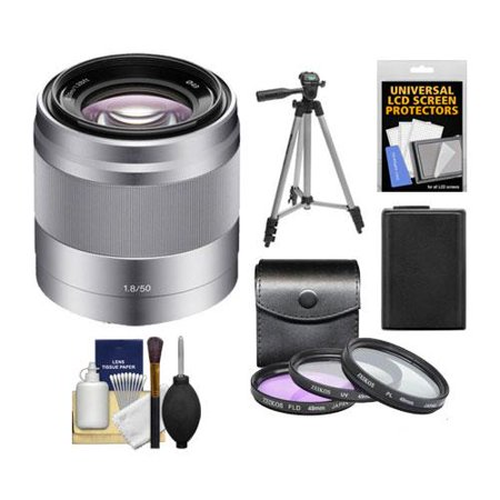 Sony Alpha NEX E-Mount 50mm f/1.8 OSS Lens (Silver) with 16GB Card + 3 Filters + Battery + Kit for A7, A7R, A7S Mark II, A5100, A6000, A6300 (Best Lenses For Sony Nex Cameras)