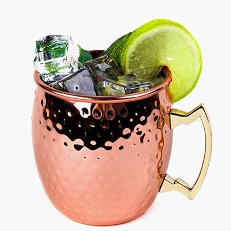 Mug Barrel18oz Copper Plated Hammered Stainless Steel Moscow Mule Mug