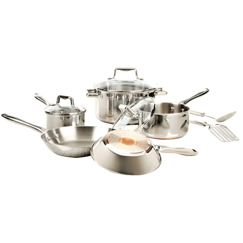 T-Fal Performance 10-Piece Copper Bottom Stainless Steel Cookware Set