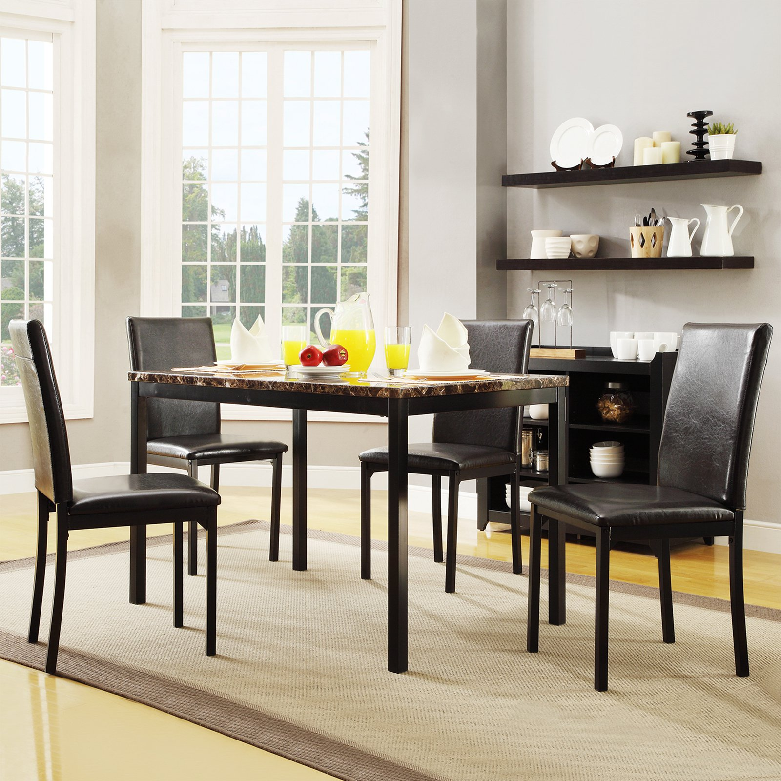 Homelegance Tempe 5 Piece Metal Table With Faux Marble Top Dining Set    Dark Brown