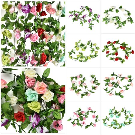 - CUH Artificial Silk Rose Flower Vine Garland Flower for Home Wedding Garden Party Decoration