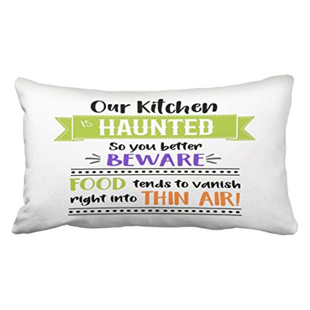 WinHome Funny Kitchen Quote Halloween Decor Throw Pillow Covers Cushion Cover Case 20X30 Inches Pillowcases Two - Halloween Funny Quote