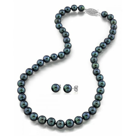 14K Gold 6.0-6.5mm Black Akoya Cultured Pearl Necklace & Matching Earrings Set, 18