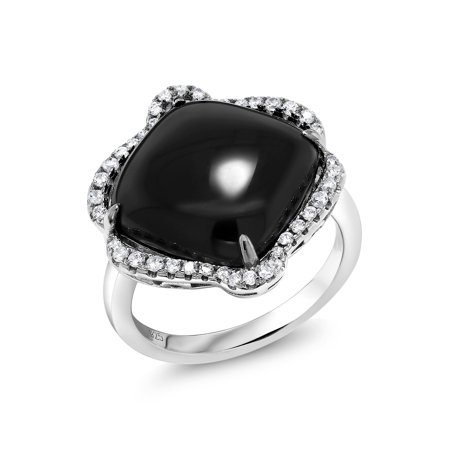 925 Sterling Silver Art Deco Black Onyx and White CZ Cocktail Right Hand Ring