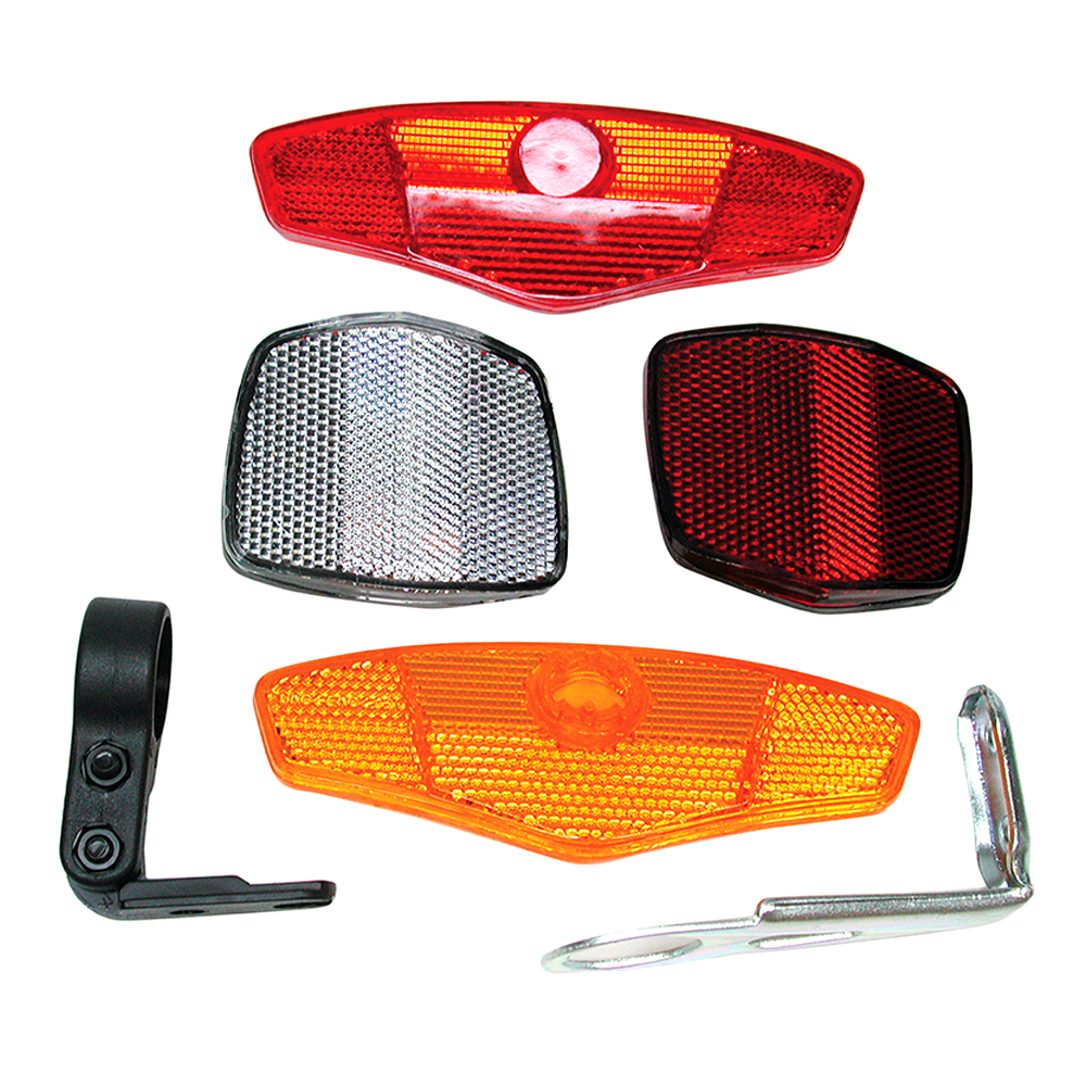 Sunlite Bicycle Safety Reflector Set Front & Seatpost & Wheels w/ Mount Brackets