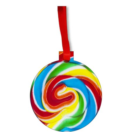 Colorful Lollipop Swirl Sweet Round Shaped Flat Hardboard Christmas Ornament Tree Decoration - Unique Modern Novelty Tree Décor Favors - Big Round Colorful Lollipops