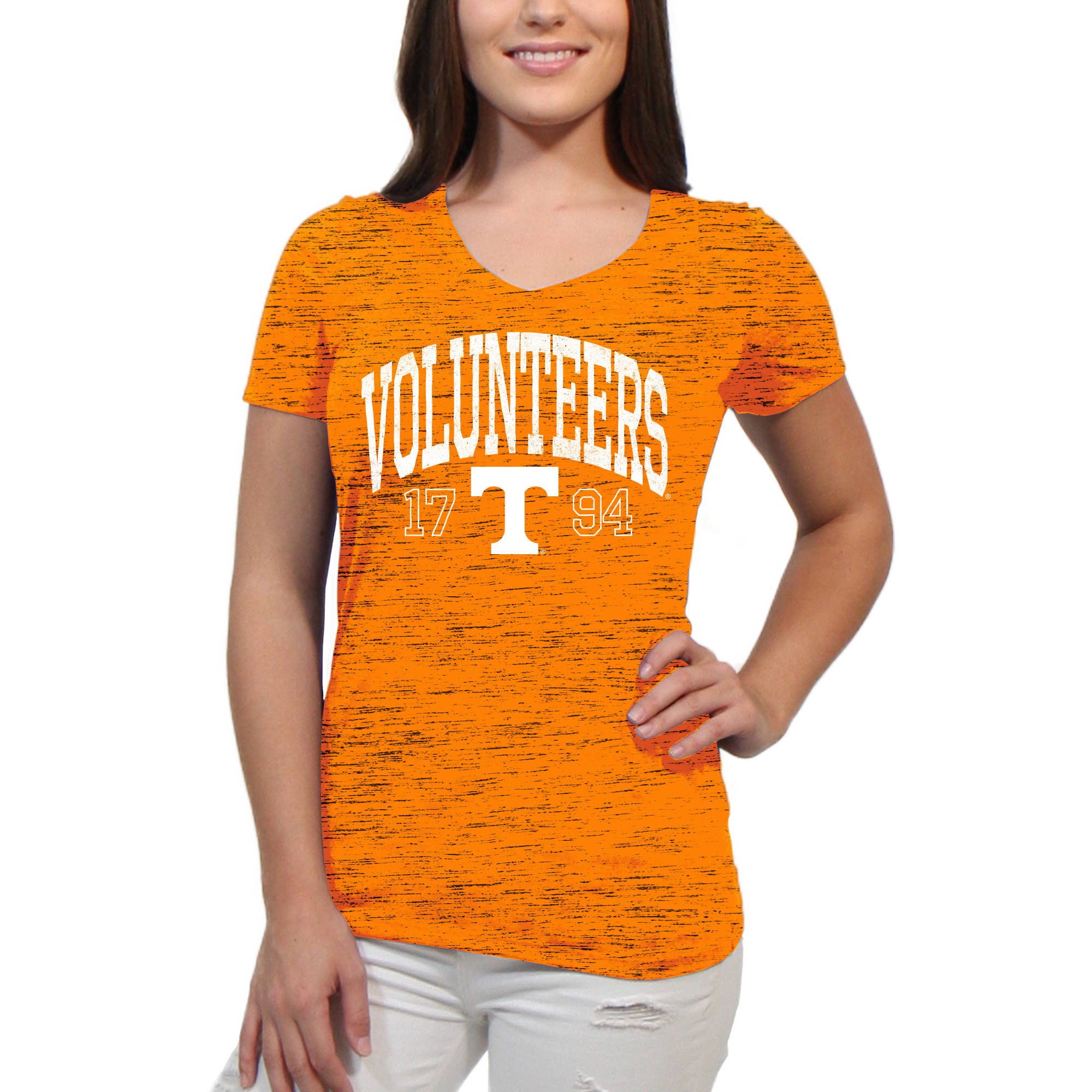 Tennessee Volunteers Text Overlay Women's/Juniors Team Short Sleeve V Neck Tee Shirt