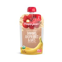Happy Baby Clearly Crafted, Stage 2, Organic Baby Food, Bananas, Raspberries & Oats, 4 Oz