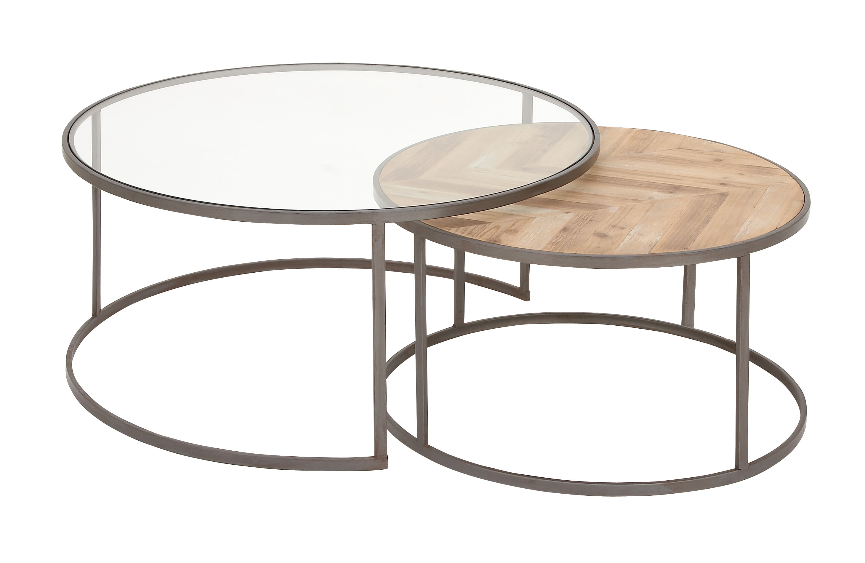 DecMode Large Contemporary Metal, Glass & Wood Nesting ...