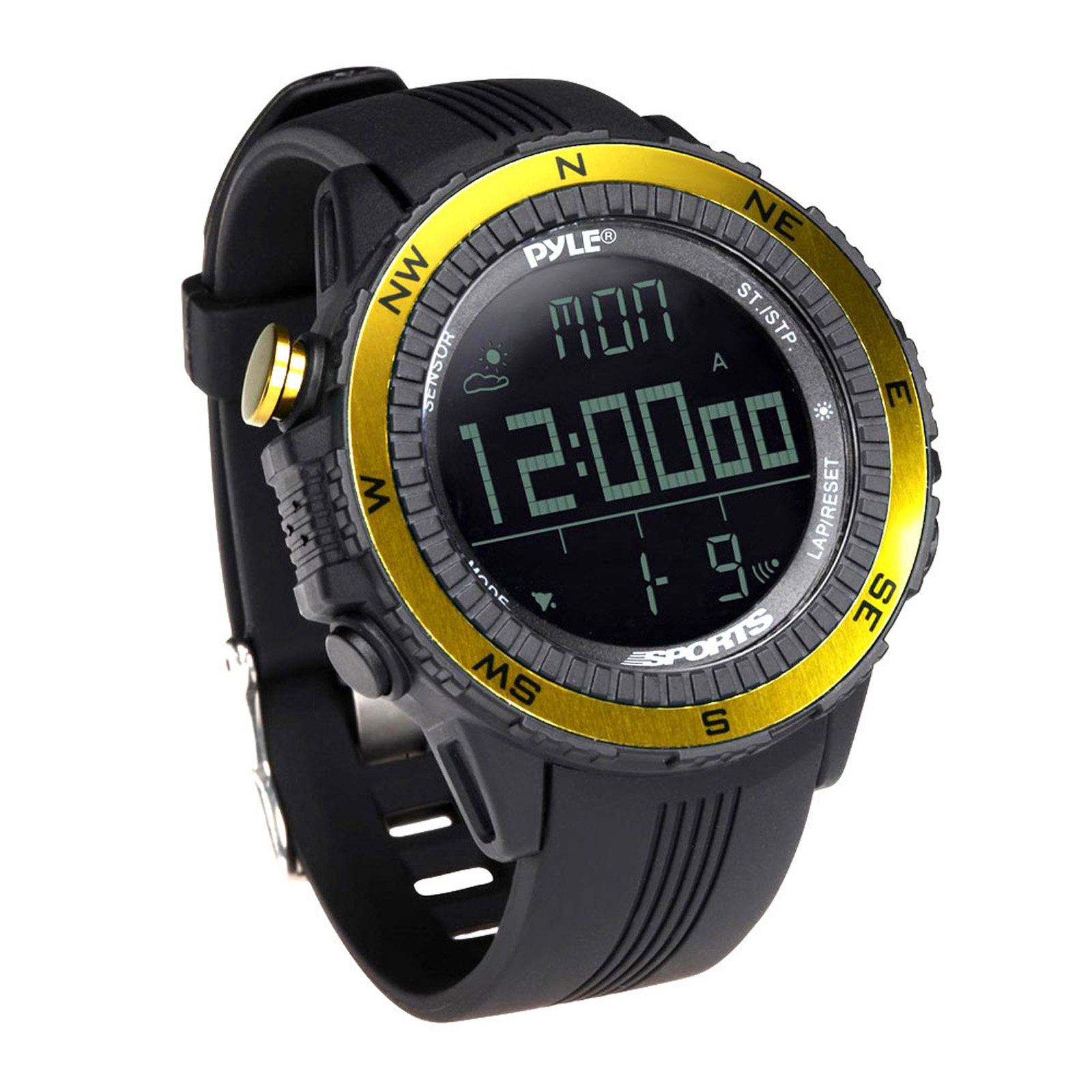 Pyle Multifunct Active Sports Watch with Altimeter, Barometer, Chronograph, Compass, Count-Down Timer, Measuring & Weather Forecast Modes (Yellow)