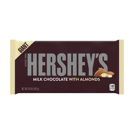HERSHEY'S Milk Chocolate Candy Bar with Almonds, Giant, 6.8 Ounces (Pack of 3) ()