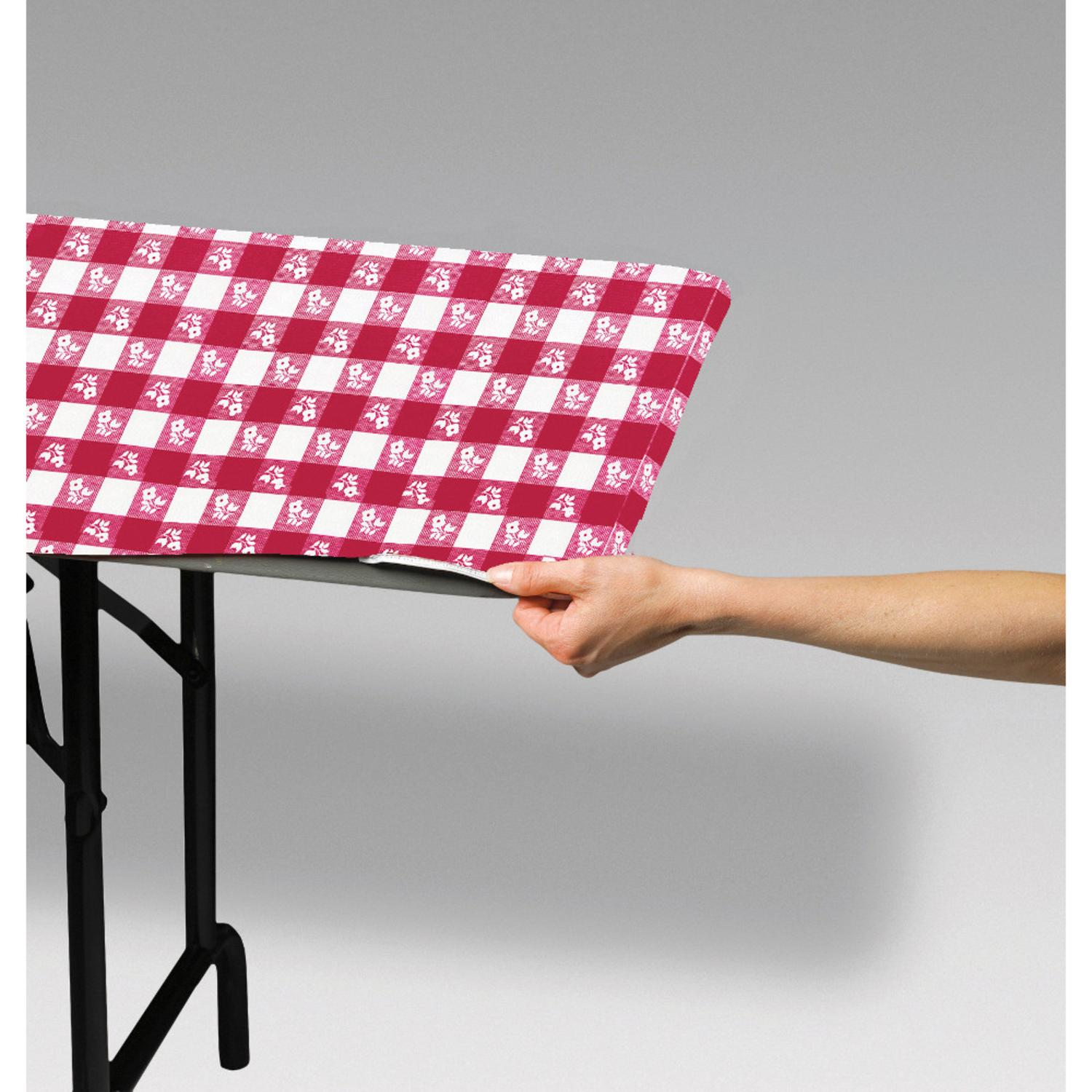 Club Pack of 12 Red and White Gingham Disposable Rectangle Plastic Banquet Party Table Covers 72