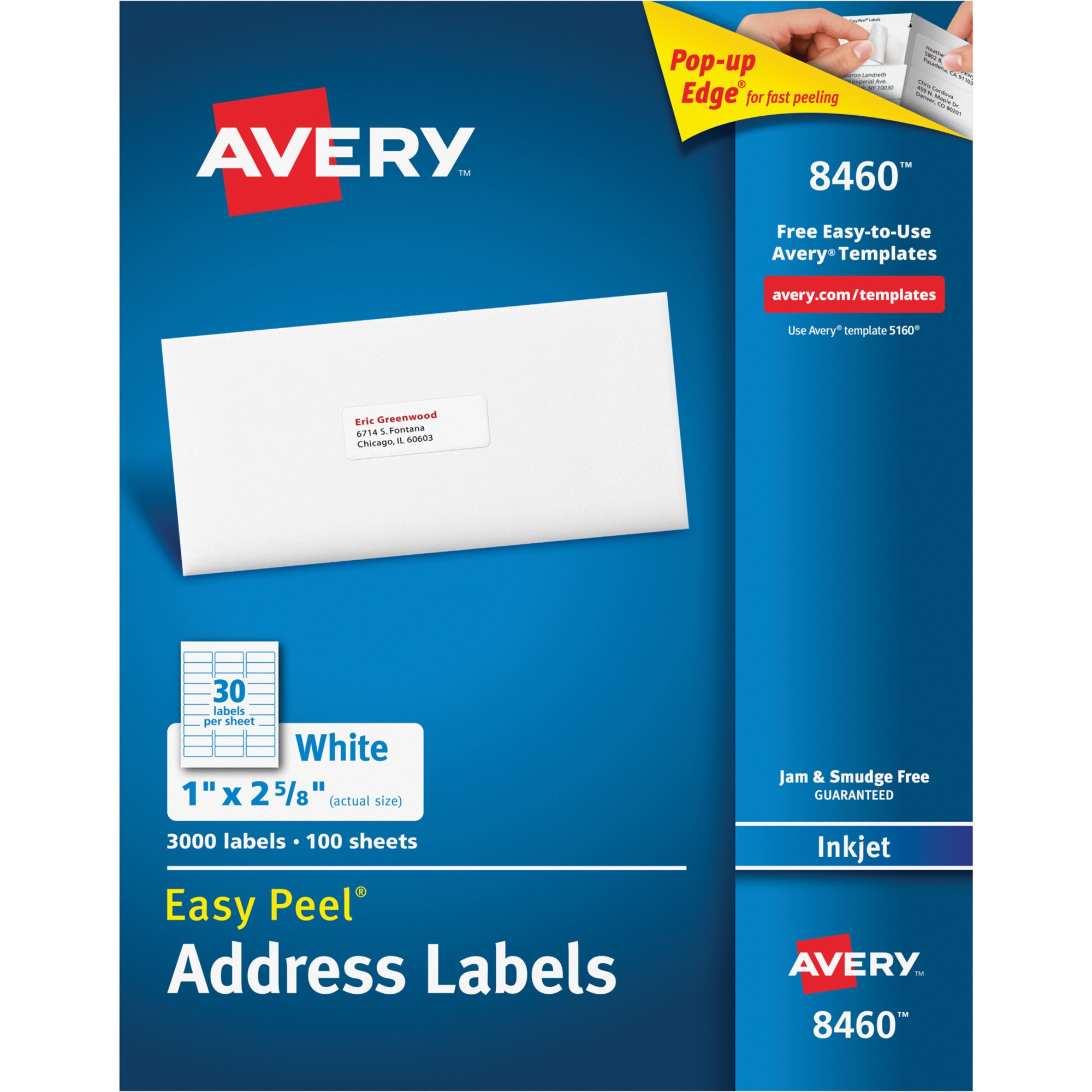 "Avery Easy Peel 1"" x 2-5/8"" Inkjet Address Labels, White, Box of 3000"