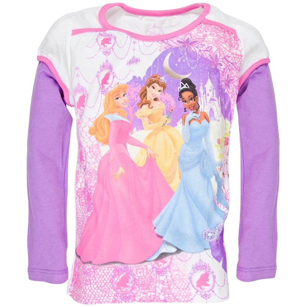 Disney Princess - Princess Cameo Girls Juvy 2fer Long Sleeve T-Shirt