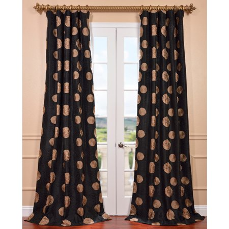Exclusive Fabrics Zen Garden Black Embroidered Faux Silk 96 Inch Curtain Panel