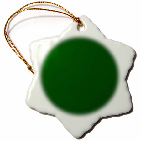 3Drose Dark Bottle Green   Plain Simple One Single Solid Color   Hunter Green  Snowflake Ornament  Porcelain  3 Inch