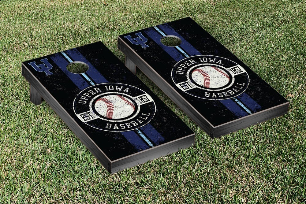 Upper Iowa Peacocks Regulation Cornhole Game Set Baseball Version by Victory Tailgate